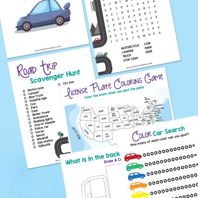 """Looking for some fun road trip ideas to combat """"I'm Bored""""? Look no further! We have an adorable free road trip activities printable bundle that has a license plate search, car color tracker, road trip scavenger hunt and so much more! So much fun for printing of and keeping in your trailer or with your camping gear!"""