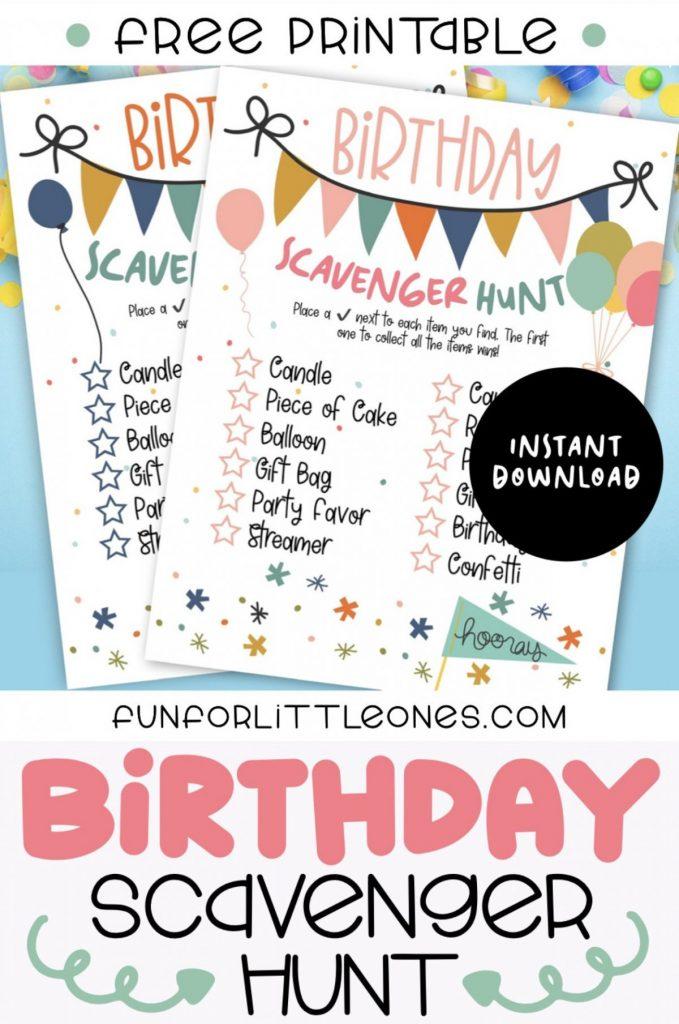 Birthday Scavenger Hunt Printable For Kids