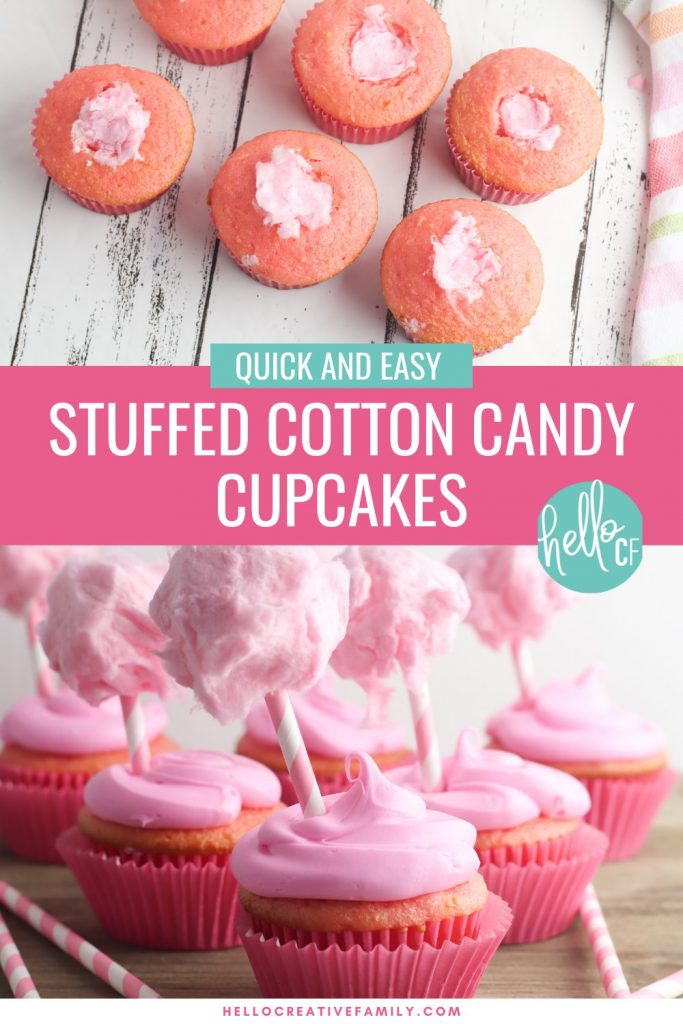 Capture those summer dessert time feelings all year long with this delicious, stuffed cotton candy cupcakes recipe! This yummy dessert is quick and easy to make using a boxed cake mix, but the decorations take it over the top giving it a super fun carnival twist! A fun dessert idea for birthday parties and baby showers!