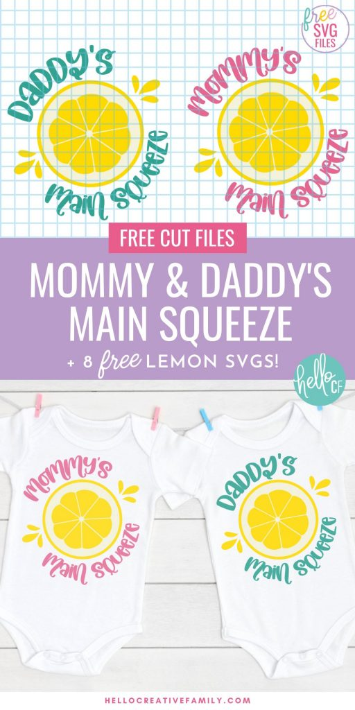 Show mom and dad how much they are loved with our free Daddy and Mommy Main Squeeze SVG files! Design adorable baby onesies, toddler shirts and more using your Cricut or other electronic cutting machine! Perfect for DIY coming home outfits and handmade Mother's Day, Father's Day and baby shower gifts! Also includes links to 8 free lemon and lemonade cut files!