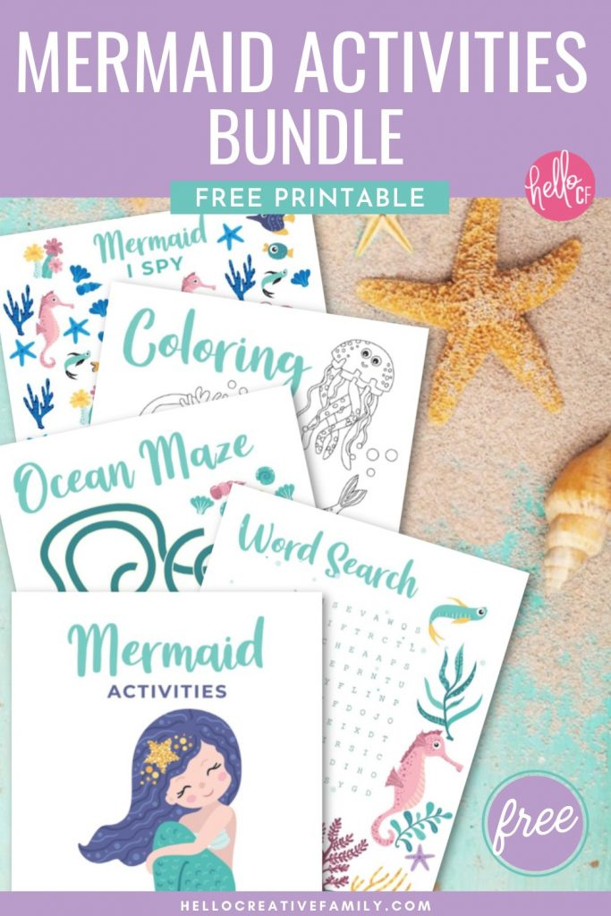 Free printable mermaid activities! Includes a mermaid word search, mermaid coloring sheet, mermaid I spy and an ocean maze! Perfect for mermaid themed birthday parties, homeschooling activities, and kids boredom busters! These mermaid activity worksheets are as cute as can be! #Printables #Mermaid #MermaidBirthday #ColoringSheet #KidsActivities #SummerCrafts