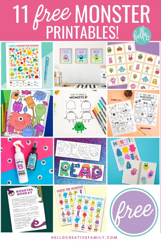 Download 11 free monster printables that your family is sure to love in our brand new monster printable collection! Includes a set of monster bathroom signs that say Flush, Wash and Brush for decorating kids bathrooms! Other free printables include monster spray, monster coloring sheets, monster activity sheets and more! Great for monster birthday decorations and fun!