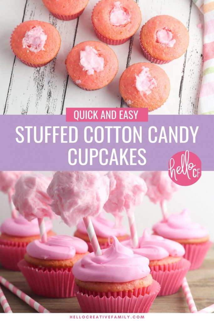 Capture those summertime dessert feelings all year long with this delicious, stuffed cotton candy cupcakes recipe! This yummy dessert is quick and easy to make using a boxed cake mix, but the decorations take it over the top giving it a super fun carnival twist! A fun dessert idea for birthday parties and baby showers!
