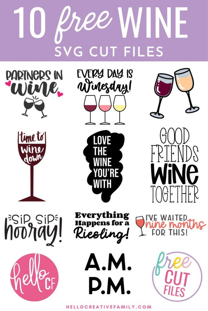 Making a handmade gift for the wine lover in your life? We've got you covered with 10 Free Wine SVG files including Every Day Is Winesday! Use these free SVG files to make t-shirt, wine glasses, wine bags hoodies and more using your Cricut or other electronic cutting machine! Whether your drink of choice is merlot, reisling or rose you will love these free cut files!