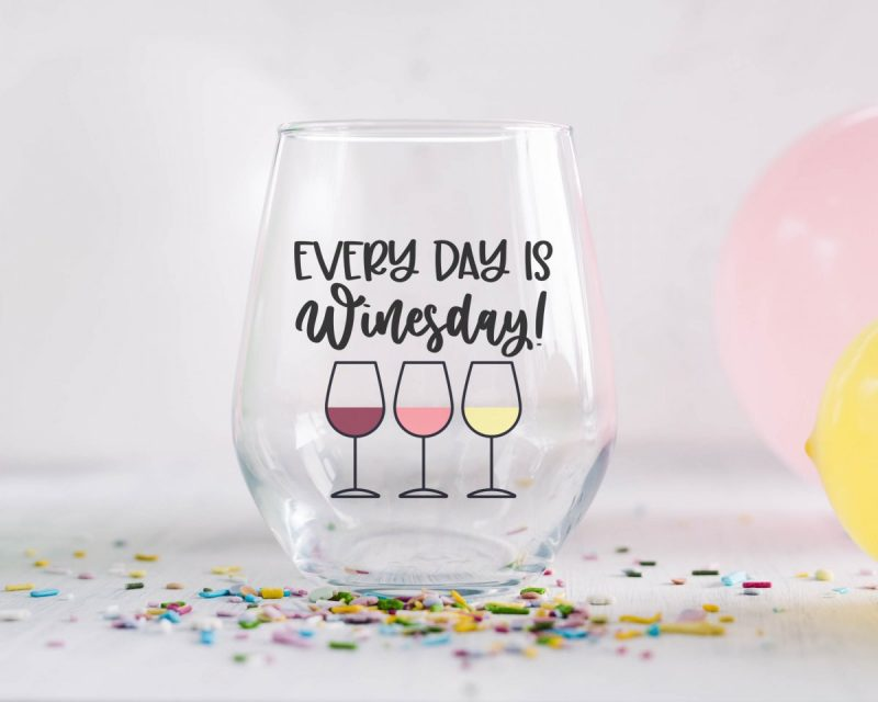 DIY Cricut made Wine Glass that says Every Day Is Winesday from Hello Creative Family