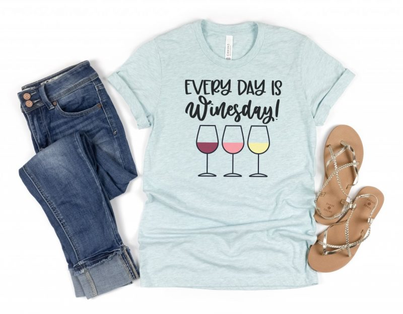 DIY Cricut made Wine shirt that says Every Day Is Winesday from Hello Creative Family