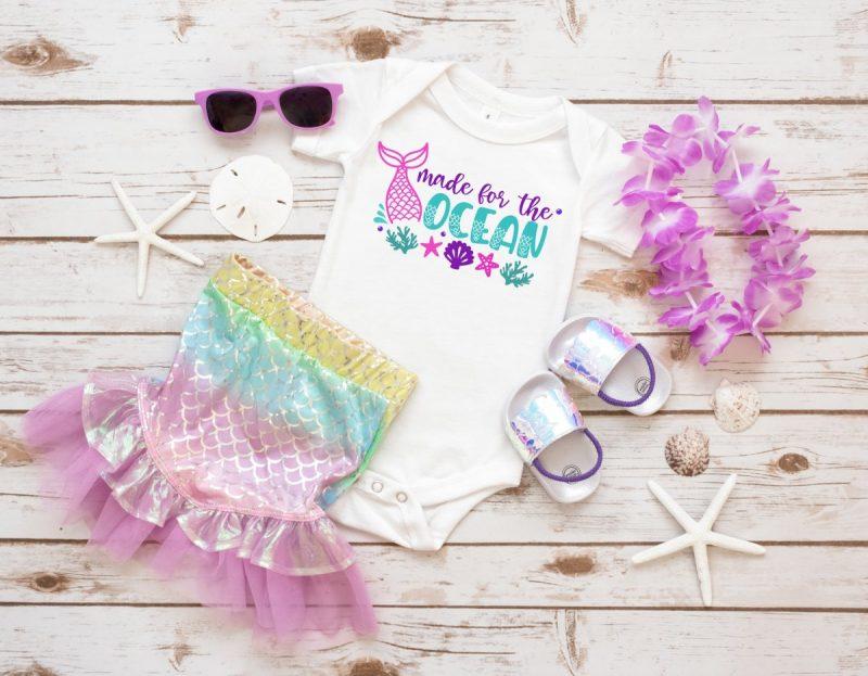Made for the ocean mermaid baby onesie