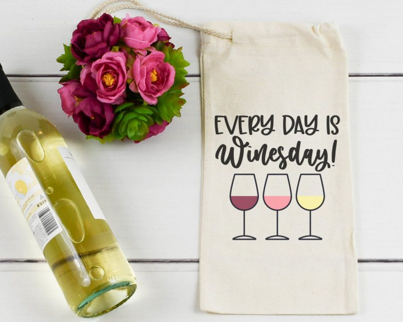 DIY Cricut made Wine Bag that says Every Day Is Winesday from Hello Creative Family