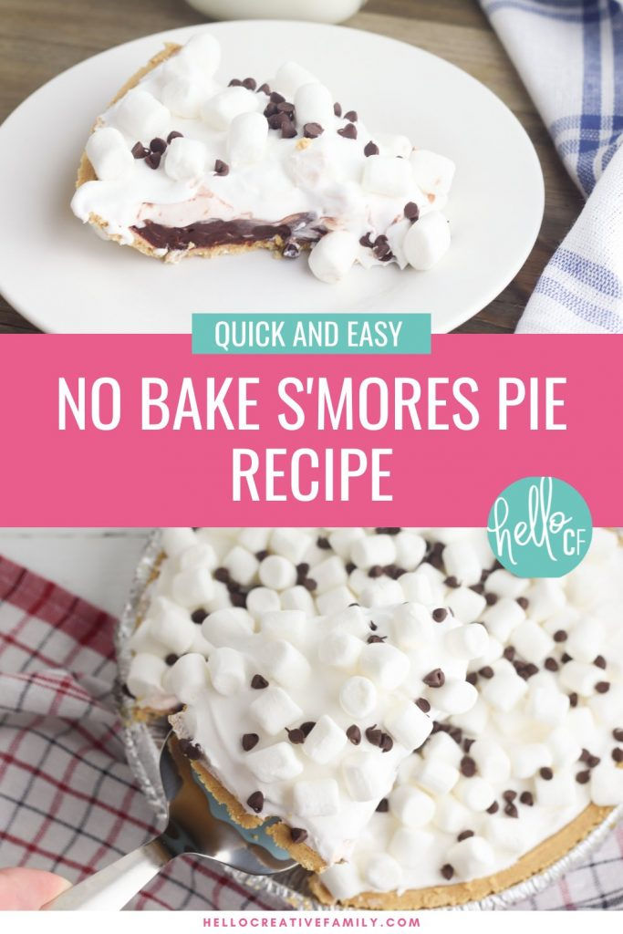 Create a delicious, easy dessert in just 10 minutes with this No Bake Smores Pie Recipe! The ultimate comfort food dessert, that gives you a slice of summer all year long! Kid friendly and perfect for entertaining and potlucks! #Dessert #Smores #Recipe #ComfortFood #nobake #camping #summer