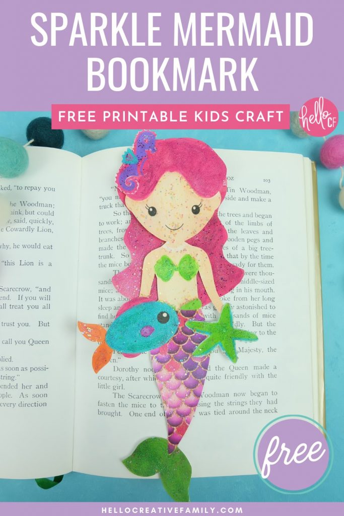 Looking for a fun mermaid craft with kids? Use our Free Sparkle Mermaid Bookmark Printable and easy step by step instructions for some easy crafting fun with kids! #MermaidCrafts #mermaids #Crafts #KidsCrafts #DIY #ModPodge #Printable #FreePrintable #MermaidPrintable