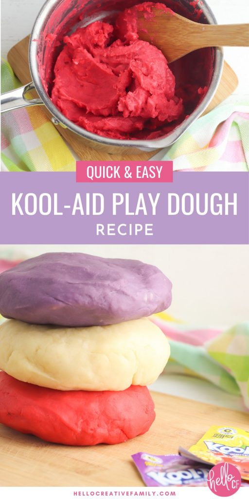 Making homemade play dough is quick and easy with this kool aid play dough recipe! The best play dough recipe you will ever find with simple ingredients! Smells good, is soft, pliable and easy to make in minutes. #Playdough #kidscrafts #Koolaid #kidsactivities #homemade