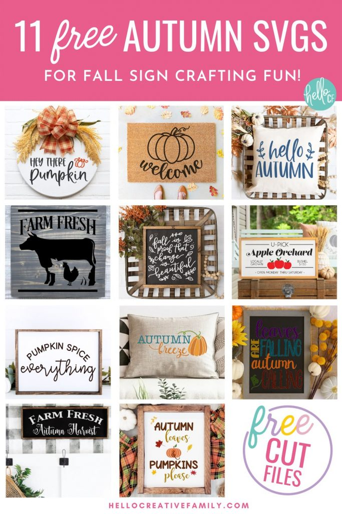 Decorate in fall hygge style with 11 free fall sign cut files including a Welcome Pumpkin SVG that is perfect for making doormats with! Design beautiful DIY autumn home decor using your Cricut or other electronic cutting machine!