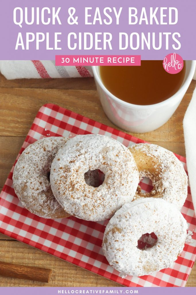 Make delicious old fashioned baked apple cider donuts in just 30 minutes with this quick and easy recipe! These soft, moist and tender cake donuts are coated in cinnamon and sugar and are the perfect fall hygge comfort food! Serve for breakfast, as a snack or for dessert! A family favorite!