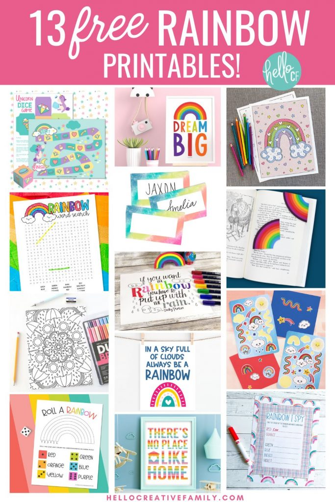 Have some rainbow unicorn magical fun with our free printable unicorn dice game. Includes a printable dice to cut out and assemble as well as an adorable printable board game covered with rainbows, diamonds, cupcakes, macarons and all things magical! We're also sharing the link to 13 free rainbow printables that kids and adults alike will love! Print these activity sheets out to keep kids entertained while travelling, on planes, at dinner and more! Perfect for birthday parties!