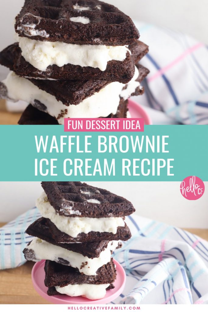 Ummmm YUM!!! Waffle Brownie Ice Cream Sandwiches?!?!? Yes please! Pull out that waffle maker, a box of brownie mix and a tub of ice cream and get ready to create your new favorite dessert idea! This recipe is so easy and the perfect hot summer day treat (or any season for comfort food). Make this homemade ice cream sandwich recipe once and you'll be batch cooking this dessert for your freezer! #IceCream #IceCreamSandwich #Summer #SummerRecipe #Recipe #DessertRecipe #Wafflebrownie