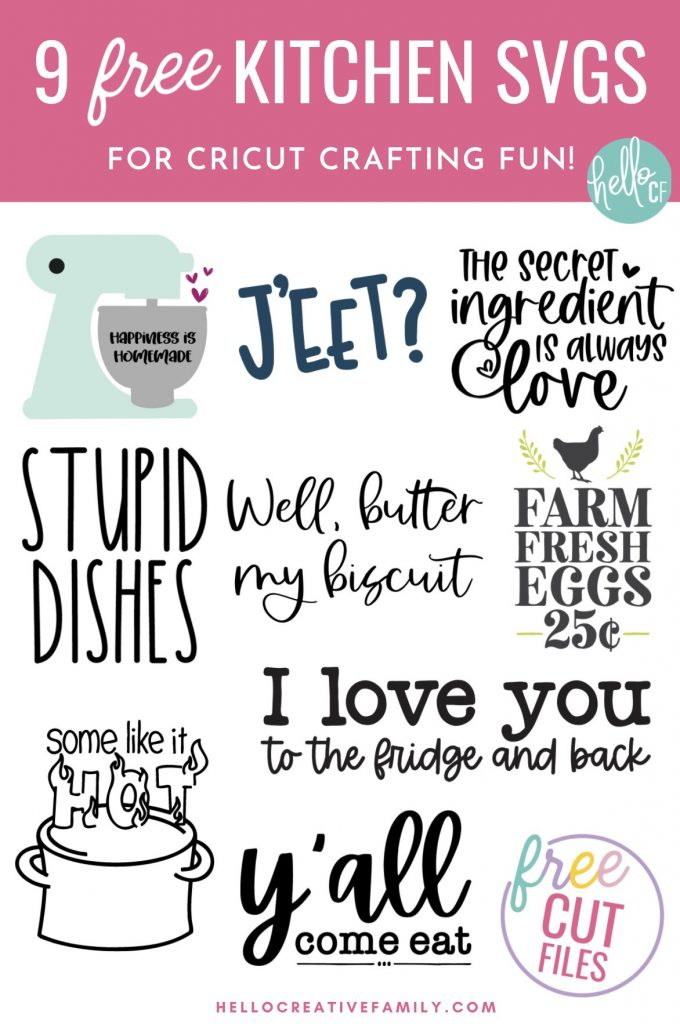 Make handmade gifts for the kitchen including DIY kitchen signs, handmade tea towels and more using our 9 free kitchen cut files! Spread a bit of happiness with our free Happiness Is Homemade SVG File. This kitchen themed cut file is perfect for making handmade gifts including DIY dish towels, mugs, shirts and more using your Cricut or other electronic cutting machine!