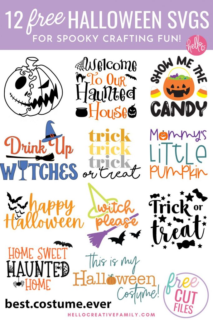 Collage of 12 free Halloween SVG cut files