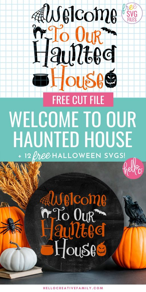 Who's ready for some Halloween Crafting Fun? Download 12 Free Halloween Cut Files including a Haunted House Halloween Welcome Sign SVG! So many fun cut files to help celebrate everyone's favorite spooky season! Make awesome DIY Halloween projects using your Cricut or other electronic cutting machine!