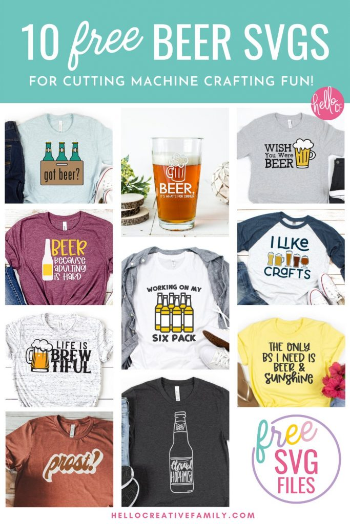 Got Beer? Make DIY gifts for beer lovers with these 10 free beer svgs! Perfect for making handmade beer shirts, mugs, aprons, bar towels and more using your Cricut or other electronic cutting machine!