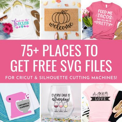 If you love cut files you are not going to want to miss this post! We're sharing 75+ places to get free SVG files for Cricut and Silhouette cutting machines! If you love making Cricut projects and doing Silhouette crafts you are going to want to check out this ultimate guide for finding free cut files for cutting machines!