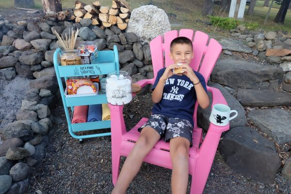 Enjoy smores made using supplies from your smores cart at your next bonfire or campfire!
