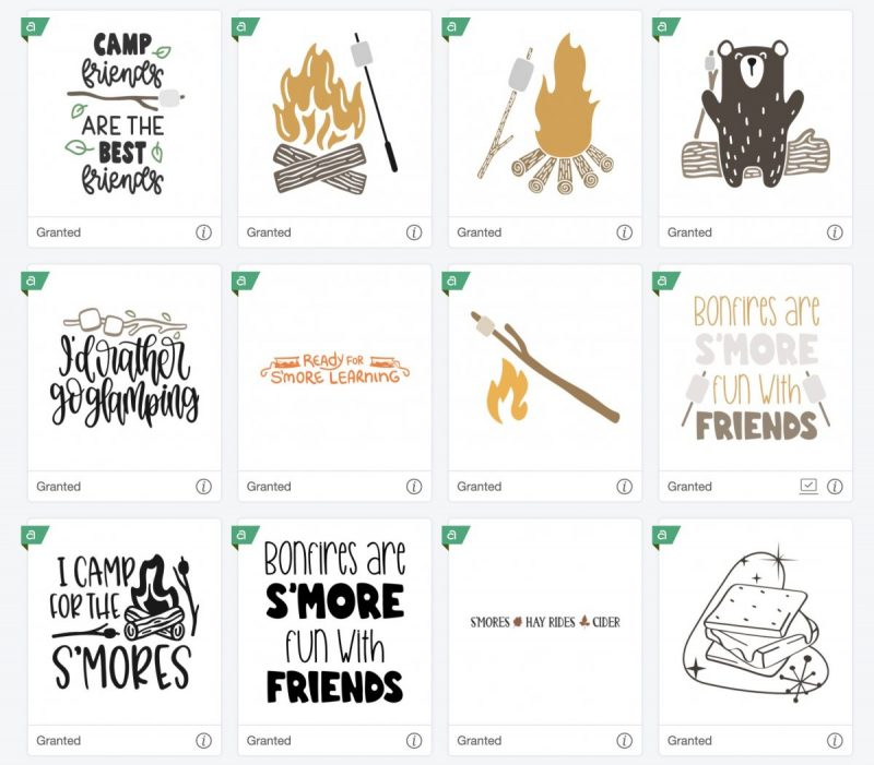 Smores Cut File Images in Cricut Access
