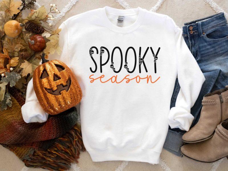 White spooky season sweatshirt with glitter pumpkin