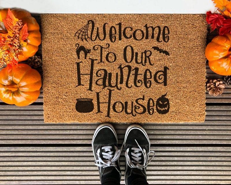 DIY Welcome to our Haunted House Halloween front door mat